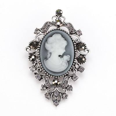 Cameo steampunk brooch