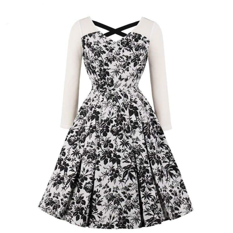 white dress with black flower mode