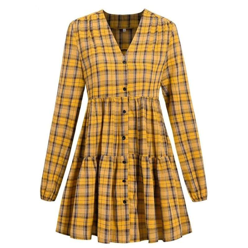 yellow checkered dress 2021