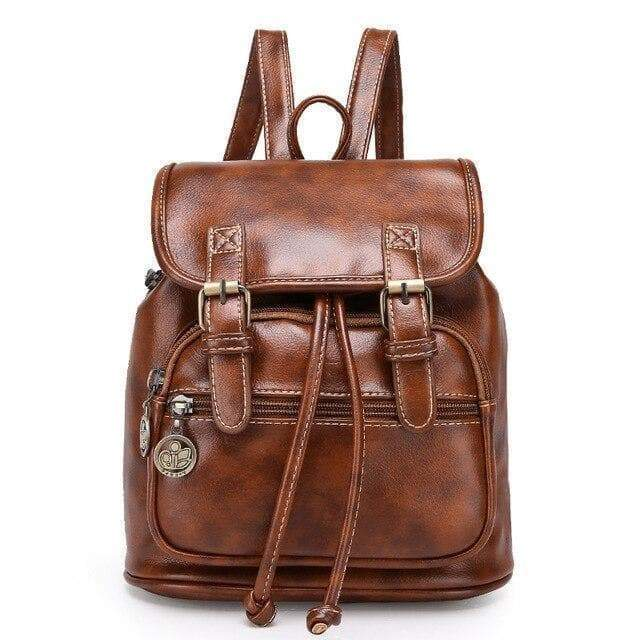 vintage woman leather backpack cosplay