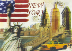 A 3D postcard depicting the icons of New York, including the famous Statue of Liberty, the Empire State Building, the flatiron building, and the Brooklyn Bridge. The postcard has a brownish hue, giving it a historic feel.