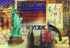 A 3D postcard depicting the Statue of Liberty and a Blue Jay. The background comprises of the Constitution of the United States.