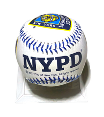 """A White NYPD baseball with blue seams. This NYPD baseball features the NYPD shield and the word letters """"NYPD"""" written across in navy blue."""