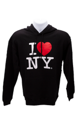 """A black """"I Love NY"""" hooded sweatshirt. The classic """"I Love NY"""" logo is printed on the center. The sweatshirts includes pockets to keep your hands warm."""