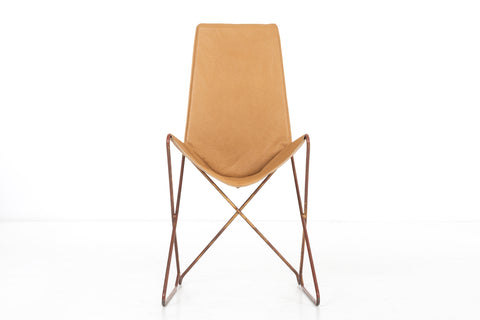 Arturo Pani Prototype Steel and Leather 'Throne' Sling Chair
