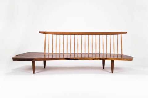 George Nakashima Conoid Bench with Rosewood Butterflies
