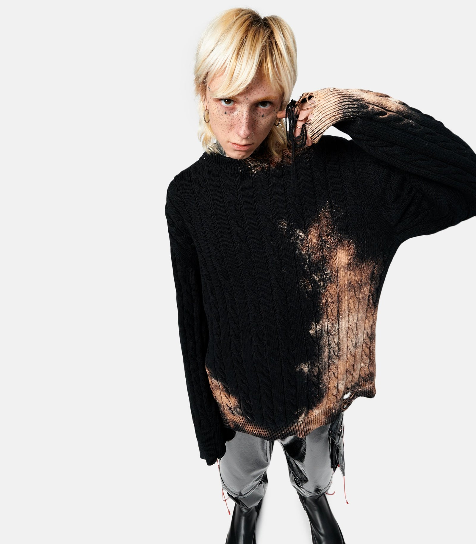 Thomas x ABM - Ripped Bleach Cable Sweater