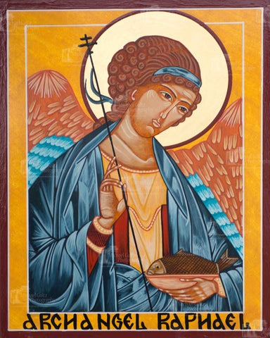 Archangel Raphael Icon Mounted Print