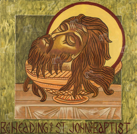 Beheading of St. John the Baptist Handpainted Icon 12x12 Inches