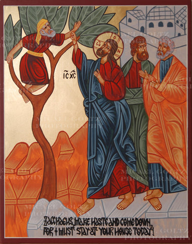 Christ Calling Zacchaeus Icon Mounted Print