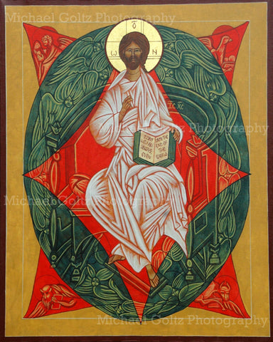 Christ Enthroned in Glory Handpainted 24x30 Inch Icon