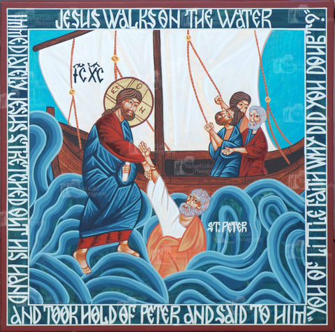 Christ Walks on the Water Icon Mounted Print