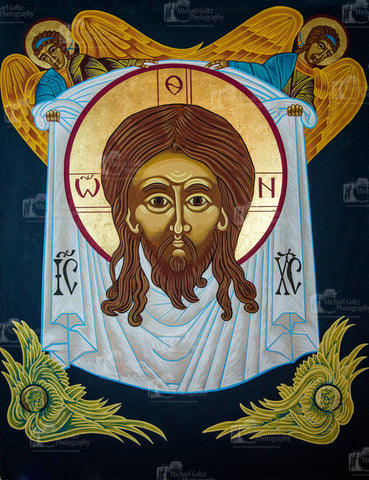 Holy Mandylion with Cherubim and Angels Handpainted 70x56 Inch Icon