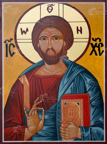 Christ Pantocrator Icon Mounted Print