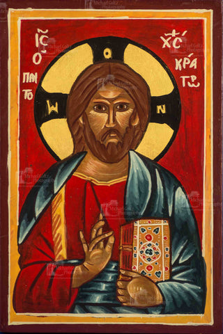 Christ Pantocrator Handpainted Icon 9x6 Inches (VERY old)