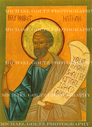 Prophet Nathan Icon Mounted Print