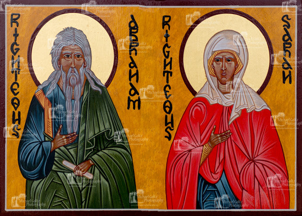 Righteous Abraham and Sarah Icon Mounted Print