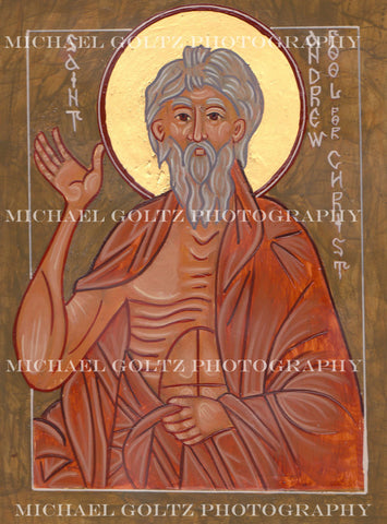 St. Andrew Fool For Christ Icon Mounted Print