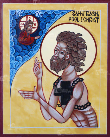 St. Basil of Moscow, Fool for Christ, Handpainted 12x16 Icon