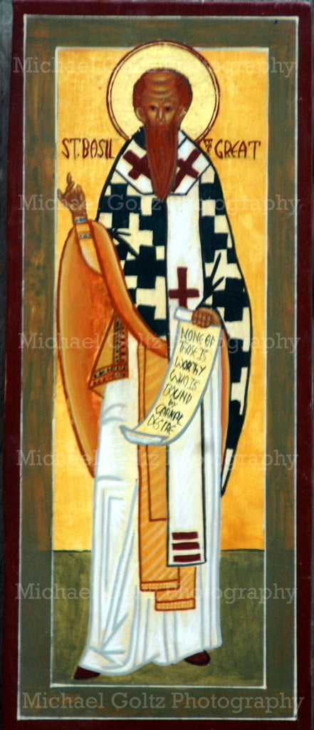 St. Basil the Great (Facing) Icon Mounted Print