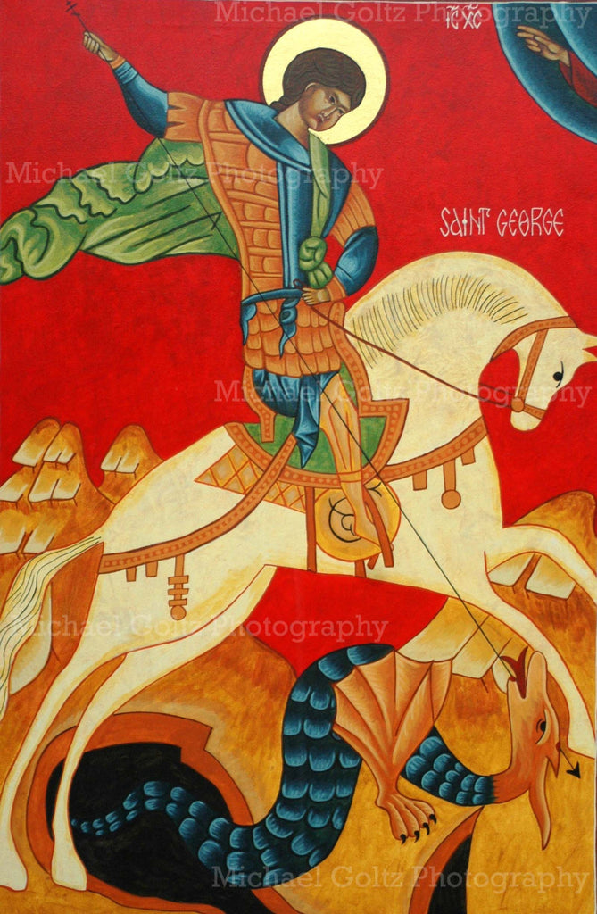St. George Novgorod Handpained 24x36 Inch Icon
