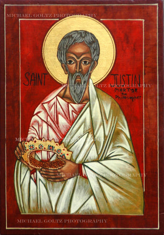 St. Justin the Martyr (old) Handpainted 9x12 Inch Icon