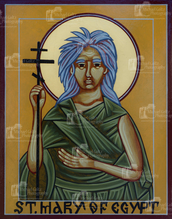 St. Mary of Egypt Icon Mounted Print