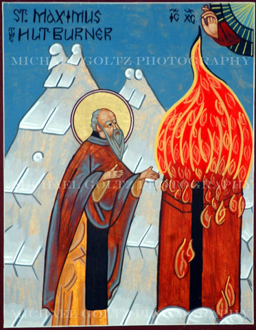 St. Maximus the Hut Burner Icon Mounted Print
