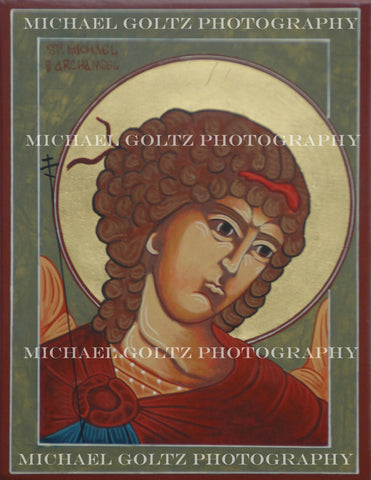 St. Michael the Archangel Bust Icon Mounted Print