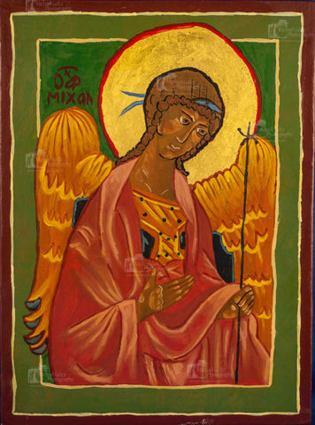 St. Michael the Archangel Handpainted 9x12 Inch Icon (VERY old)