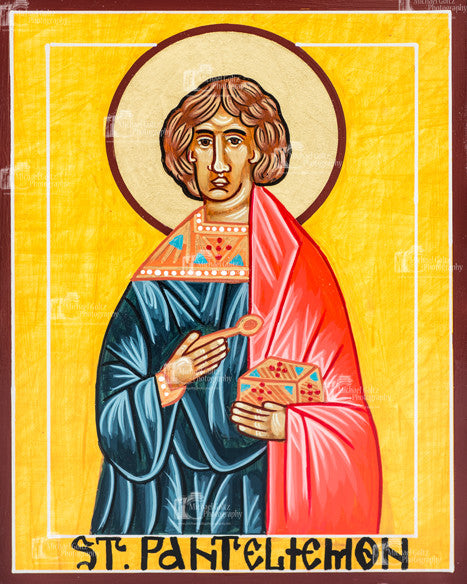 St. Panteleimon Icon Mounted Print