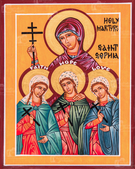 St. Sophia the Martyr and her Daughters Faith, Hope and Love Icon Mounted Print