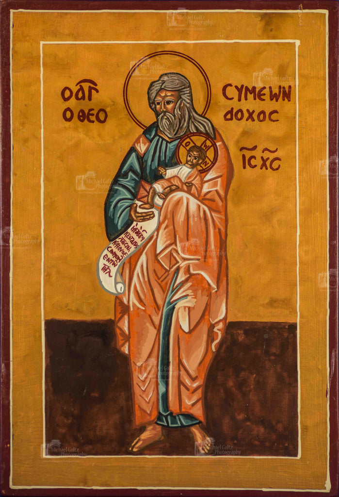St. Symeon the God Receiver Handpainted Icon 9x12 Inches