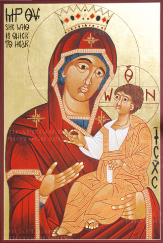 "Theotokos ""She Who Is Quick To Hear"" Handpainted 24x36 Inch Icon"