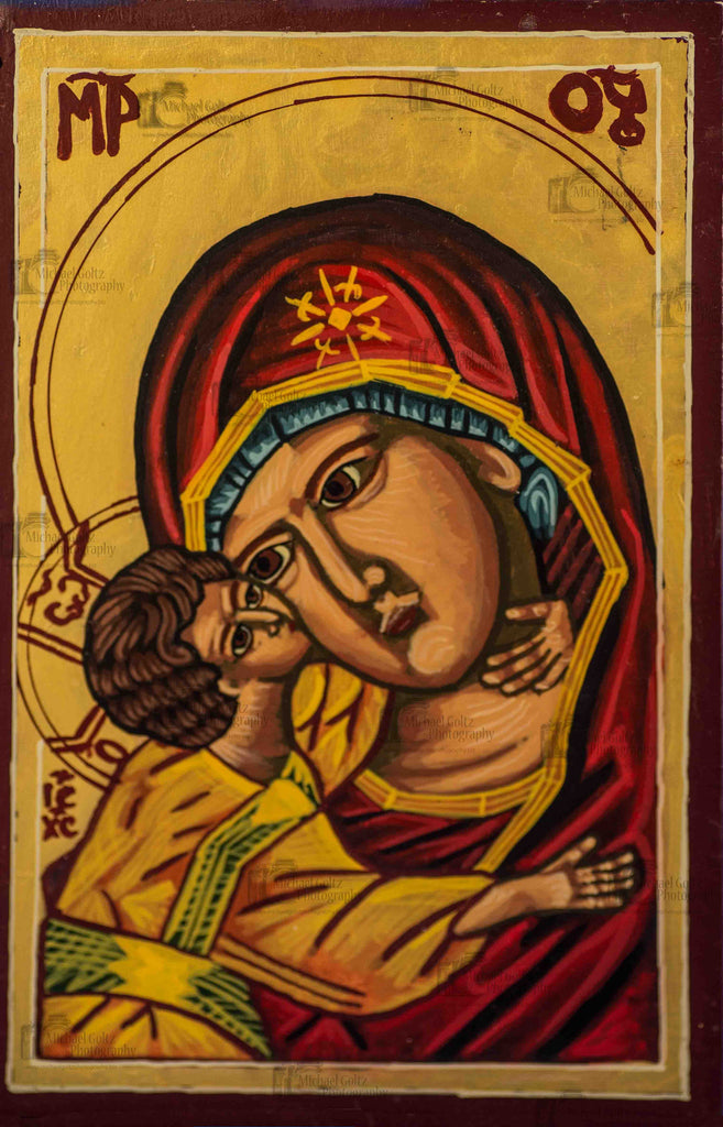 Theotokos of Tenderness Handpainted 5 1/4 x 8 x3/4 Inch Icon