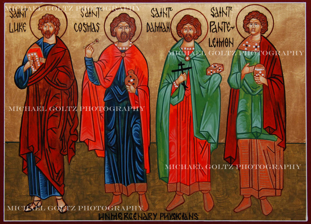 Unmercenery Physicians Luke, Cosmas, Damian and Panteleimon Icon Mounted Print