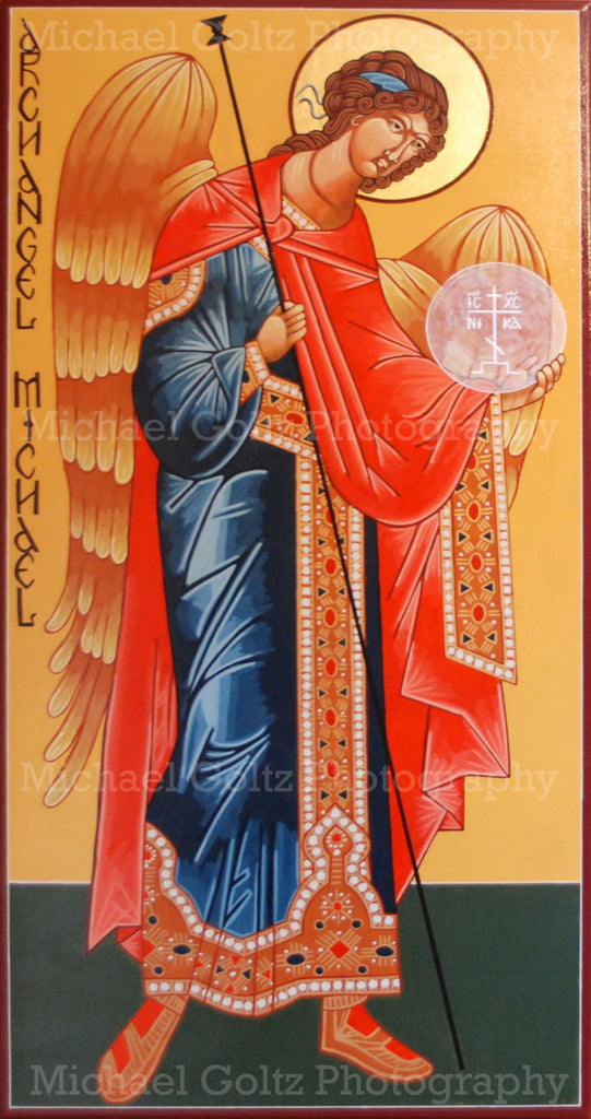 St. Michael the Archangel Standing Handpainted 24x48 Inch Icon