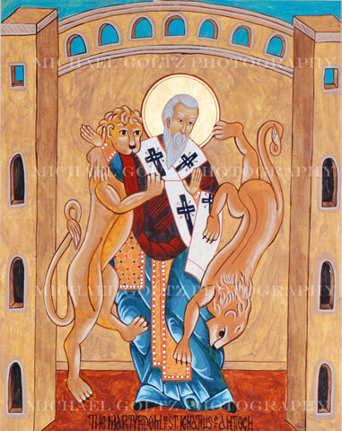 Martyrdom of St. Ignatius of Antioch Icon Mounted Print