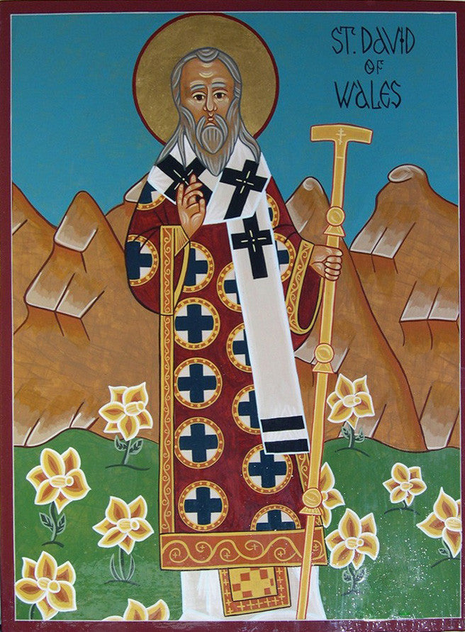 St. David of Wales Icon Mounted Print