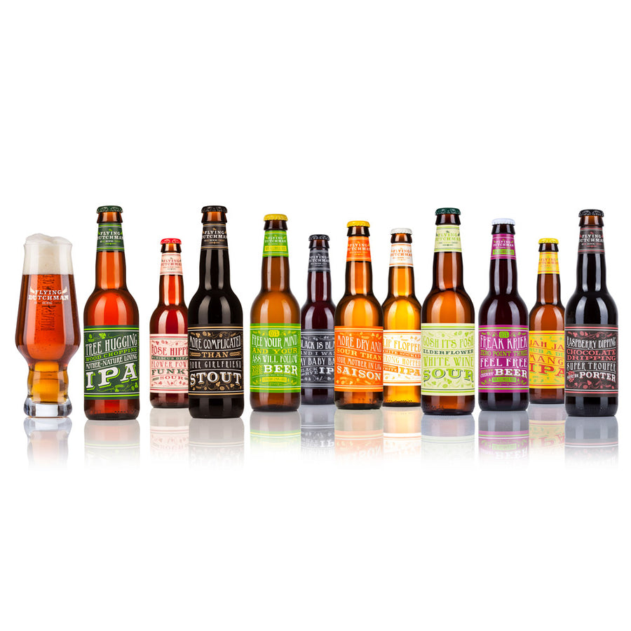 11 different exclusive specialty beers in glass bottles with Flying Dutchman glass: IPA, Black IPA, White IPA, Mango IPA,, Sour beer, porters, stouts and alcohol free.