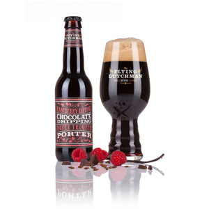 Exclusive specialty beer  Raspberry Dipping Chocolate Dripping Super Trouper Porter in glass bottle with Flying Dutchman glass brewed with dark chocolate, raspberries and vanilla beans.