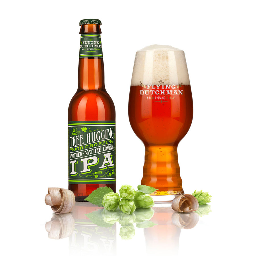 Exclusive specialty beer Tree Hugging Wood Chopping Mother Nature Loving IPA in glass bottle with Flying Dutchman glass brewed with American hops and matured on American oak chips.