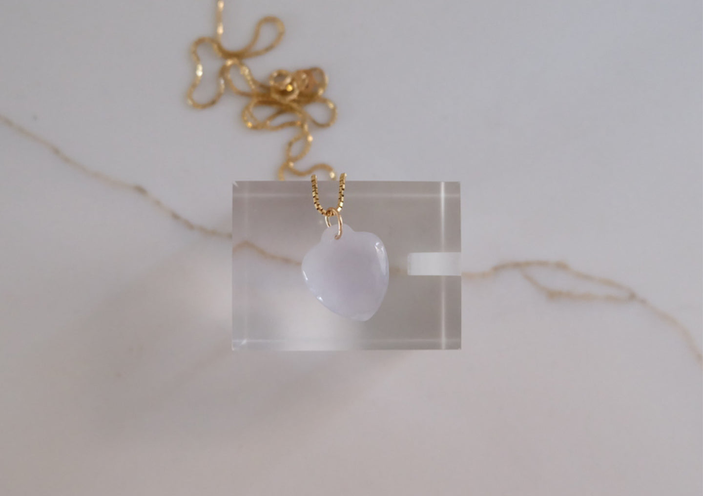 Heart-shaped Lavender Jadeite Pendant
