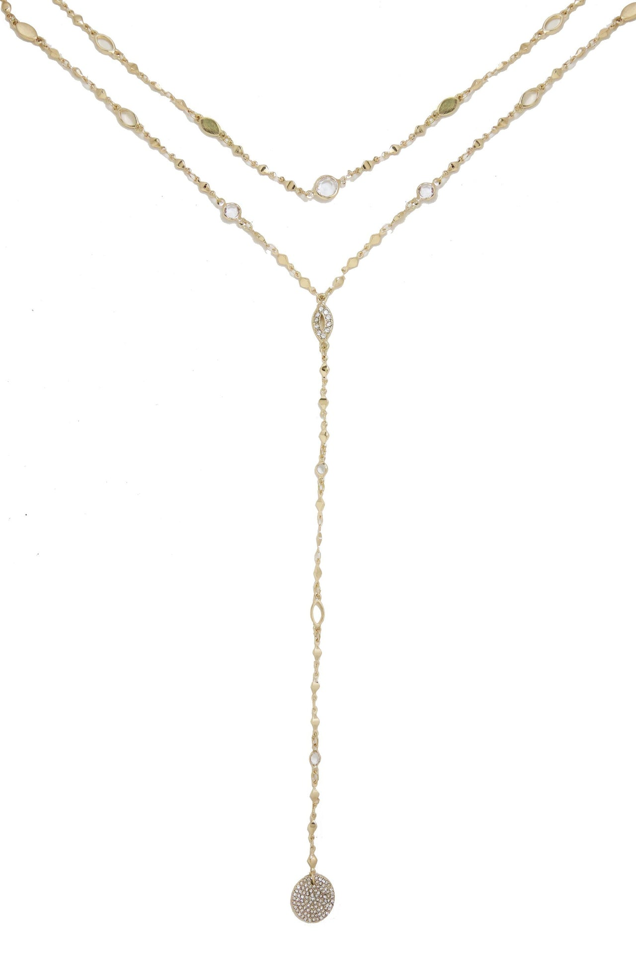 Delicate Crystal 18k Gold Plated Layered Lariat Necklace