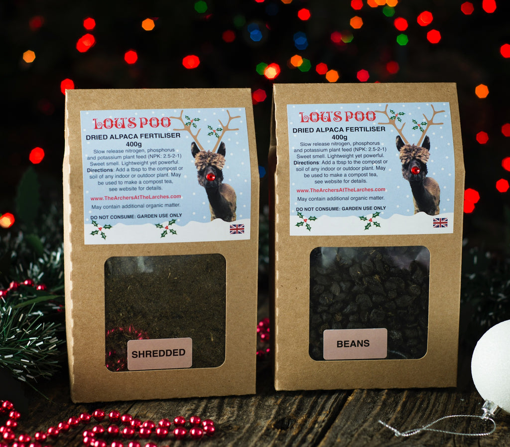 Lou's Poo, Dried Alpaca Fertiliser 400g (Christmas Limited Edition).