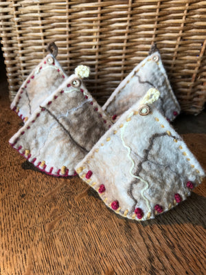 4 x Alpaca Felted Egg Cosy - Triangular