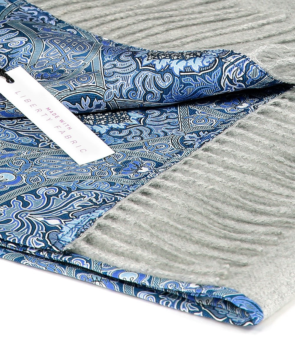 Liberty London Scarf. Silver Grey/Gambier Blue. 100% Baby Alpaca & 100% Silk + FREE DELIVERY