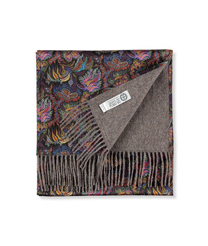 Liberty London Scarf. Mocha/Paisley Coral. 100% Baby Alpaca Fleece & 100% Silk + FREE DELIVERY