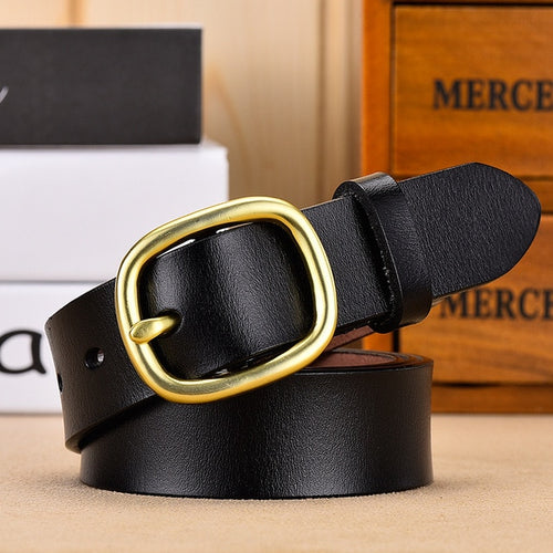 Women Genuine Leather Gold Pin Belt - LION HEART LEATHERS