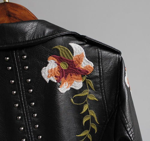 Women Floral Embroidery  Leather Jacket - LION HEART LEATHERS